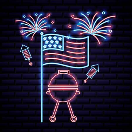 american independence day flag usa neon grill fireworks rockets vector illustration Illustration