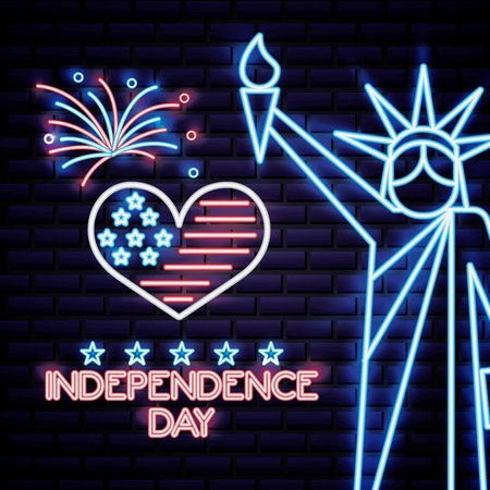 american independence day statue of liberty heat usa flag fireworks vector illustration