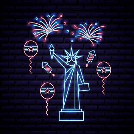american independence day balloons statue of liberty neon fireworks rockets vector illustration