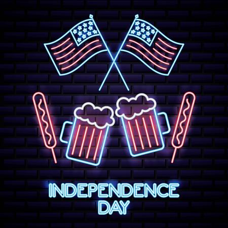 american independence day beers usa flags meat palettes vector illustration Illustration