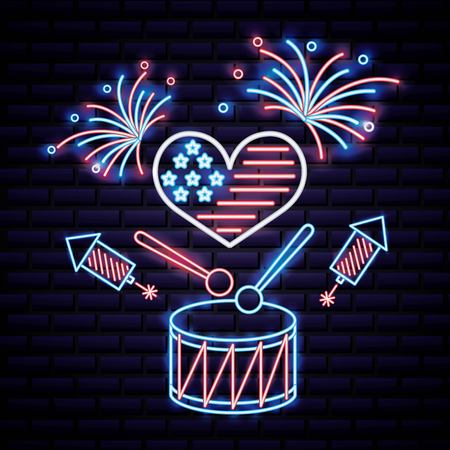 american independence day hear with usa flag fireworks drum rockets vector illustration Illustration