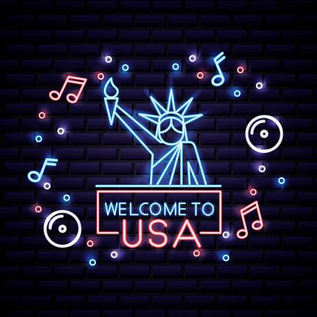 american independence day statue of liberty music fun welcome to usa vector illustration