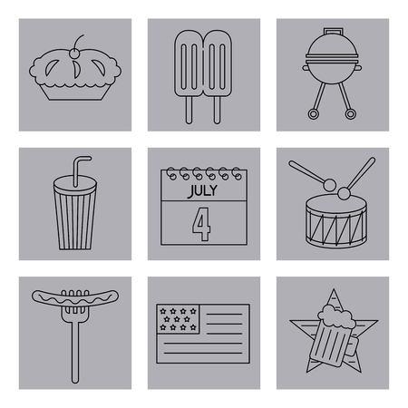 american independence day stickers food calendar drum usa flag grill milk shake vector illustration