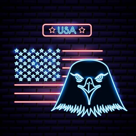 american independence day usa stars face neon eagle vector illustration
