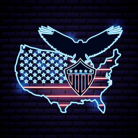 american independence day map with usa flag eagle open wings holding shield vector illustration
