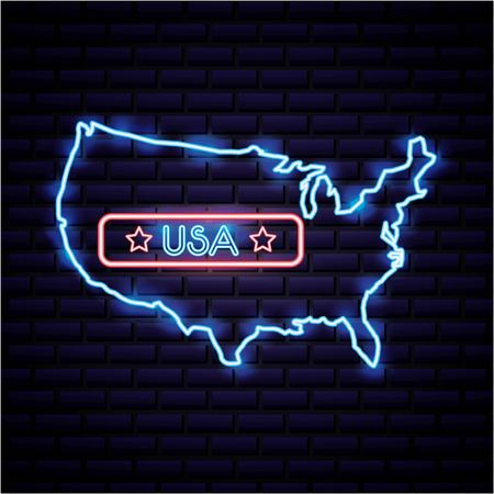 american independence day map with ribbon usa stars neon vector illustration Çizim