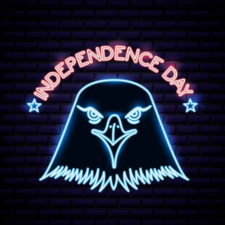 american independence day eagle neon face with color sign vector illustration