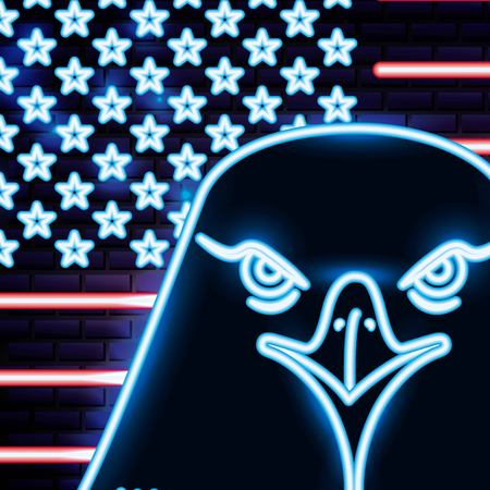 american independence day neon face eagle behing stars united states vector illustration Illustration
