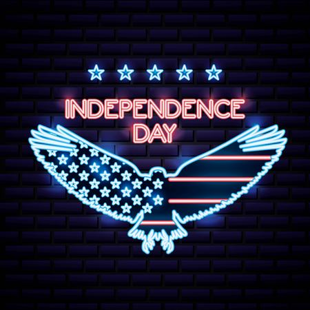 american independence day celebrate date july liberty eagle open wings vector illustration Illustration