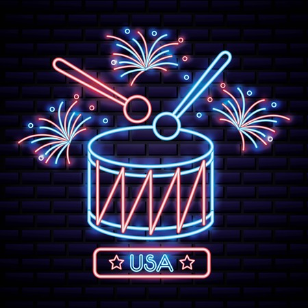 american independence day big drum playing many fireworks vector illustration