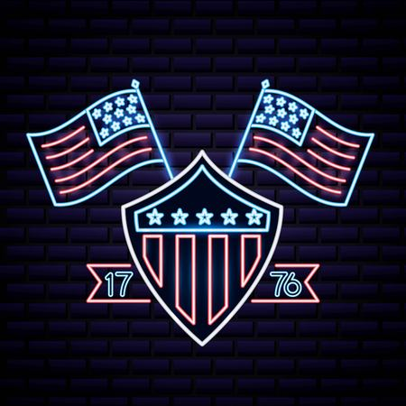 american independence day shield usa flag numbers vector illustration