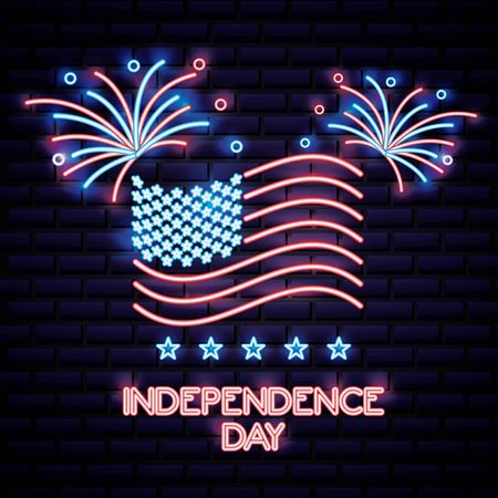 american independence day neon celebrate flag united states vector illustration