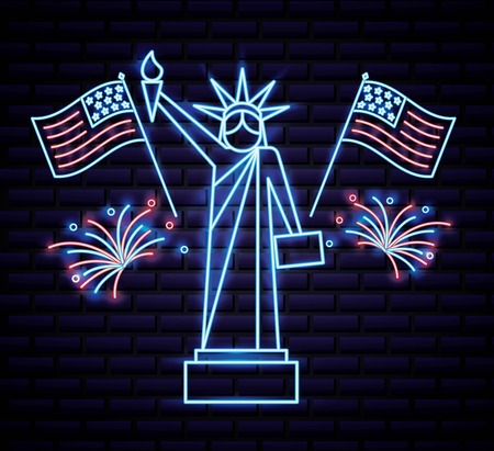 american independence day statue of liberty fireworks two usa flags vector illustration