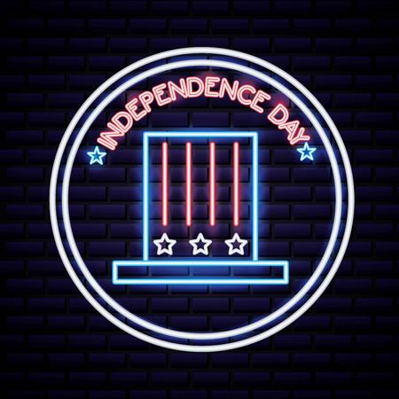 american independence day sticker with traditional hat neon date vector illustration Ilustração