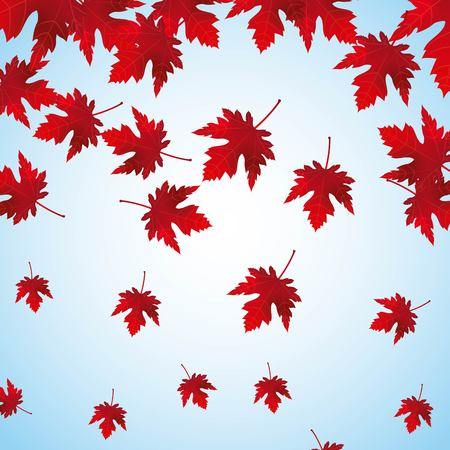 falling red maple leaves background vector illustration Illusztráció