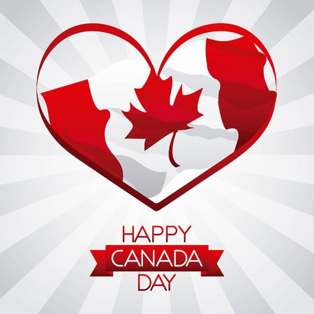 independence canada day heart flag design happy date vector illustration