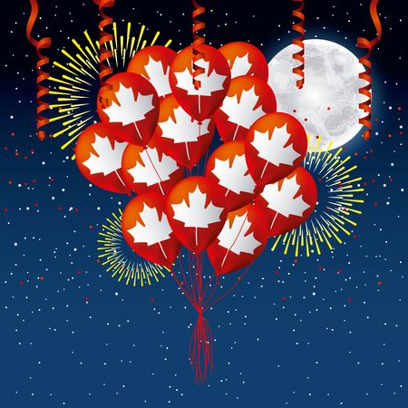 independence canada day night moon colorful serpentines balloons fireworks vector illustration Stock Illustratie