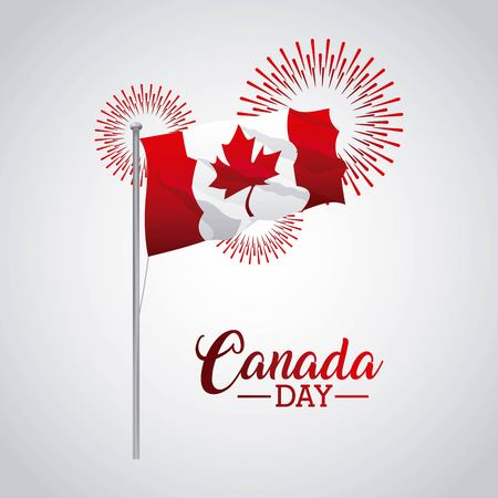 independence canada fireworks celebrate day flag vector illustration Vectores