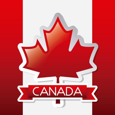 independence canada day red ribbon design flag vector illustration