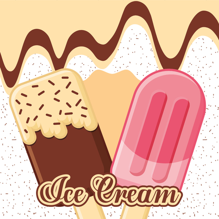 ice cream melted chocolate and red fruits flavors vector illustration