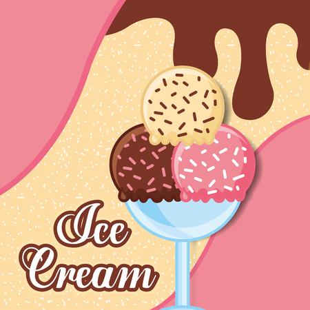 Coupe en verre avec trois boules douce crème glacée illustration vectorielle Banque d'images - 103000697