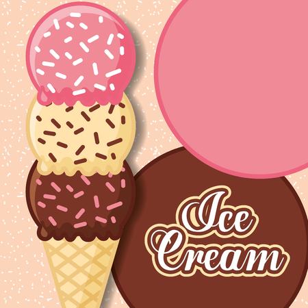 ice cream three cone scoops with chips vector illustration