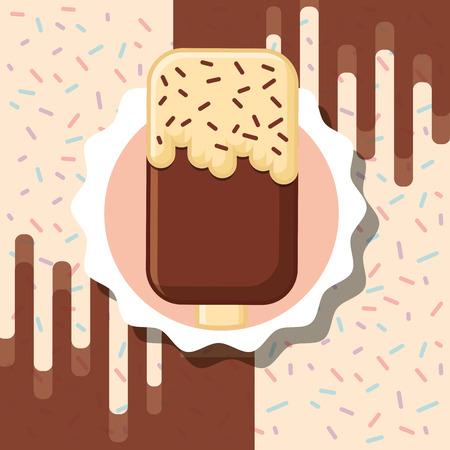 chocolate chips ice cream label design vector illustration