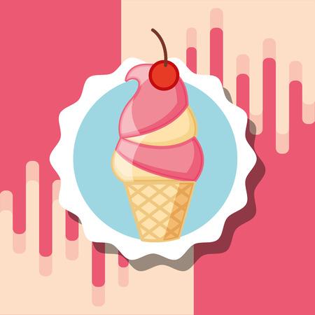 vanilla strawberry cone ice cream label design vector illustration