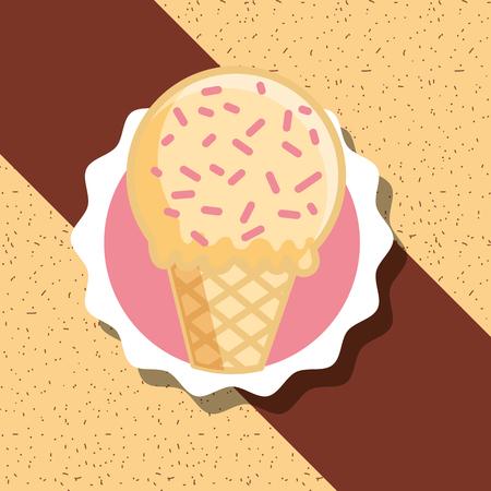 vanilla cone ice cream sparkles label design vector illustration Illustration