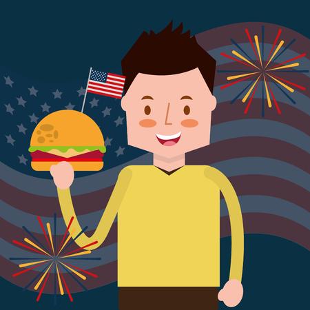 man holding burger fireworks flag american independence day vector illustration Illustration