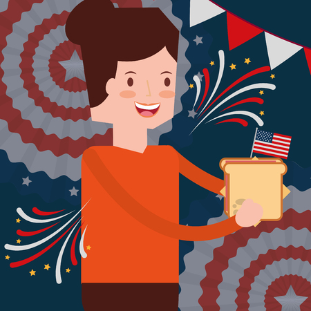 woman with sandwich flag american independence day vector illustration