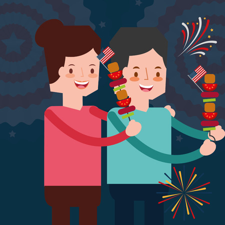 couple with kebabs and fireworks american independence day vector illustration