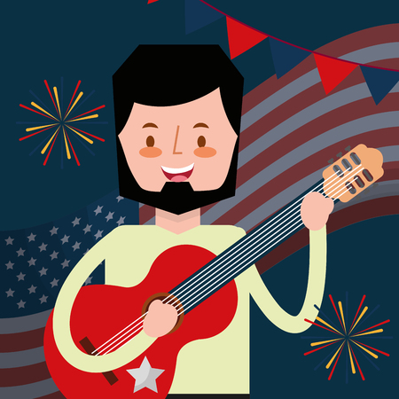 man playing guitar american independence day vector illustration Çizim