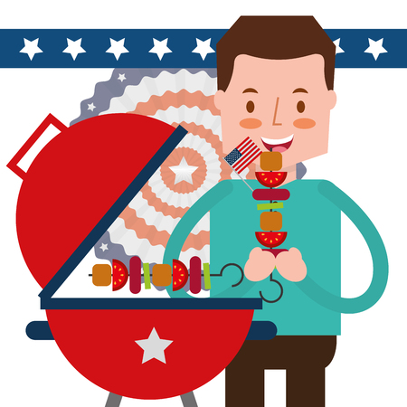 man eating roasted kebab american independence day vector illustration 矢量图像
