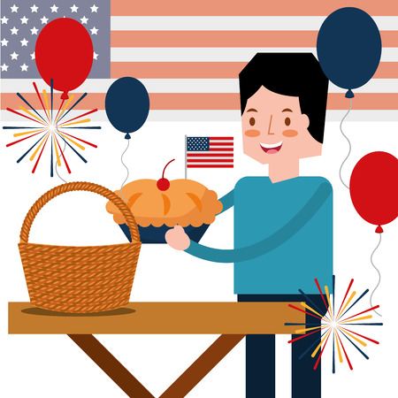 man with pie cake and wicker basket in american independence day vector illustration