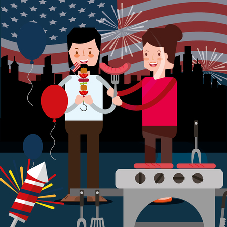 american independence day new york fireworks rockets woman man eating kebabs sausage rockets vector illustration 向量圖像