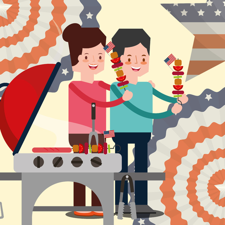 american independence day pennants usa flag background woman man holding kebabs grill sausages vector illustration