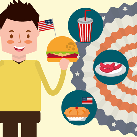 american independence day pennant usa flag boy holding hamburger stickers food vector illustration