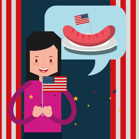 american independence day woman holding usa flag thinking sausage vector illustration