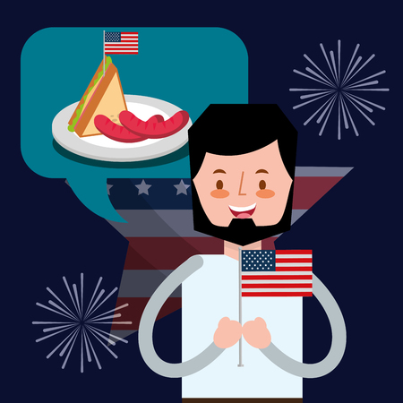 american independence day fireworks celebration boy thinking food sandwich sausage vector illustration