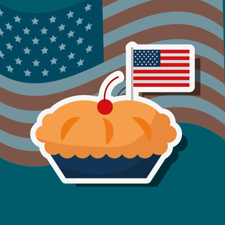 food american independence day traditional cherry pie vector illustration