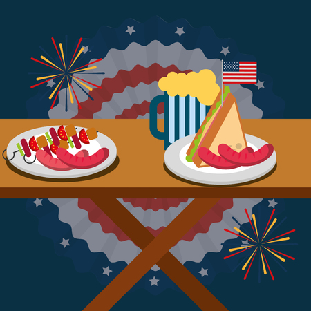 wooden table with delicious food american independence day vector illustration