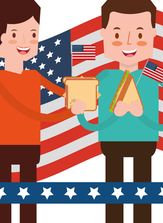 couple eating sandwiches with flag american independence day vector illustration