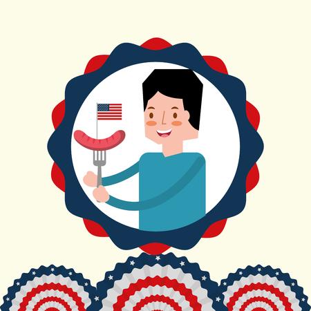 man with sausage in fork flag american independence label decoration vector illustration Illustration