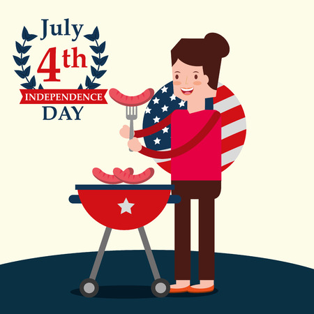 women with sausage in fork grill picnic american independence vector illustration