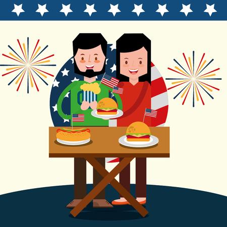 Pareja celebrando en picnic para la ilustración de vector de día de independencia americano Foto de archivo - 103000829