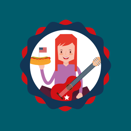 woman holds hot dog and guitar in american independence label vector illustration Illustration