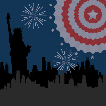 food american independence day statue of liberty new york fireworks pennant vector illustration Illustration