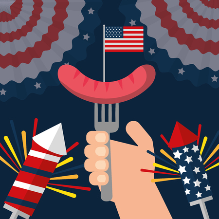 food american independence day rockets pennants hand holding fork sausage vector illustration 向量圖像
