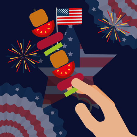 food american independence day hand holding kebab usa flag pennants fireworks vector illustration